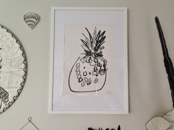 Pineapple Pop Art Wall Art, Black Screen-print by hand on 310gsm textured cotton RAG Paper Limited Edition