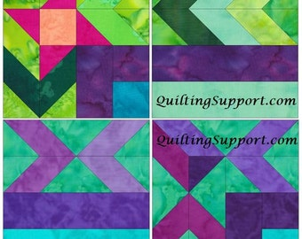 10 Inch Foundation Set 1 Paper Piece Quilting 4 Block Patterns  Chevrons PDF