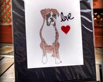 Boxer Dog love heart red Love-Original Watcolor-Boxer Love watercolor-limited edition-brindle 11x14