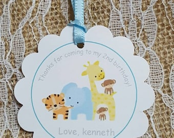 "Personalized Favor Tags 2"" ,Thank you, Baby Boy Shower  tags, Thank You tags, Favor tags, Gift tags, safari birthday"