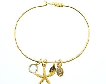 Gold Starfish Bracelet with Swarovski Crystal
