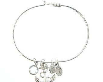 Silver Anchor Bracelet with Swarovski Crystal