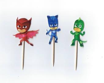 12 PJ Masks Cupcake toppers- Owlet, Cat Boy, Gecho,  Pj Mask cupcake picks,  PJ Masks decoration Birthday Party Pick
