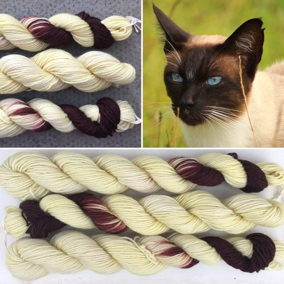 Siamese Cat Miniskein 20g, 4ply fingering superwash merino nylon blend indie sock yarn