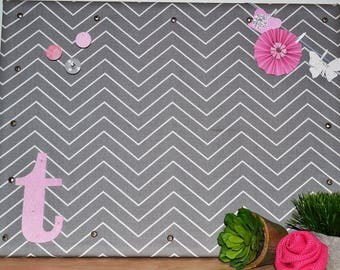 Personalized Cork Bulletin Board, Gray and White Chevron Fabric Covered Cork Board with Push Pins, Pin Board and Wall Decor