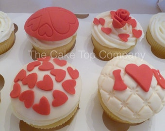 Valentine Hearts  Fondant Cupcake Toppers