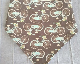 Bicycle Bandana Bib - Baby dribble neckerchief bib vintage retro bicycle bike
