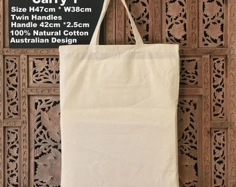 "Calico Bags Carry Bag Twin Handle Tote Bag (S1) H47cm*W38cm Custom Calico Bag   "" Customisation"""