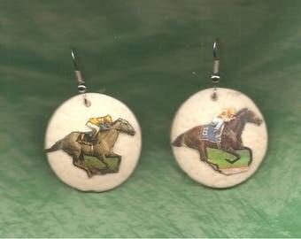 RACE HORSE - EARRINGS - Ostrich Shell
