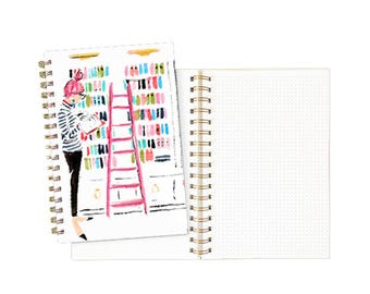 Gold Spiral Notebook: Library Girl