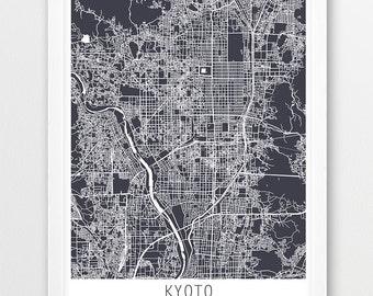 Kyoto City Urban Map Poster, Kyoto Street Map Print, Kyoto Japan Grey Print, Modern Wall Art, Travel Poster, Home Office Decor Printable Art