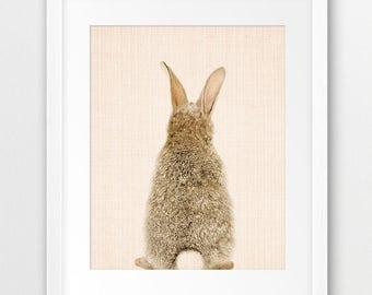 Rabbit Print, Woodlands Animal Wall Art, Nursery Animals Print, Standing Bunny Print, Bunny Back Tail, Kids Room Decor, Animal Printable Art