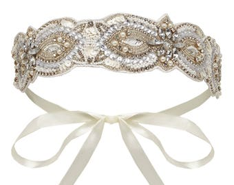 Cream Silver Claire Great Gatsby Flapper Wedding Headband Vintage inspired 20s Beaded Charleston Downton Abbey Wedding Art Deco New HandMade