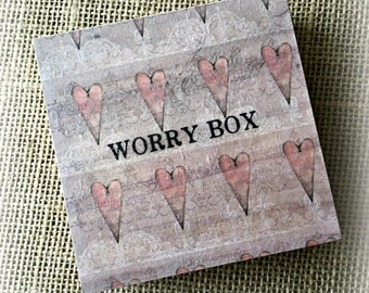 Worry Box - Vintage Hearts Design - Children & Adults - Handmade with Love in England