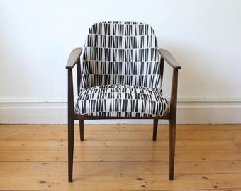 Beautiful Mid Century Arm Chair with natural cotton linen upholstery