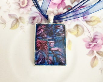 Mosaic pendant necklace sapphire blue and mulberry rose Van Gogh mosaic tile resin one of a kind