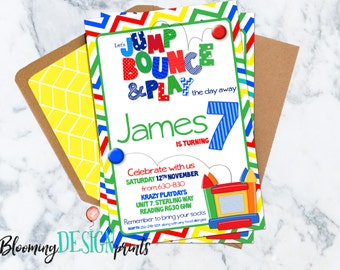Bounce House Jump Bounce and Play Birthday Party Invitation