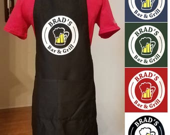 Personalized Men's Apron, Gift for Husband, Mens BBQ Apron, Father's Day Gift, Gift for Hubby, Grilling Apron, Groomsmen, Beer, Bar Apron