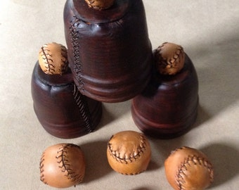 Pro Leather Cups and Balls Set