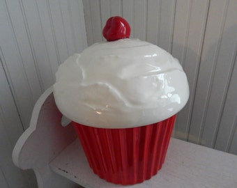 Red and White Ceramic Frosted Cupcake Cookie Jar - Fluted Bottom with Icing and a Cherry on Top - 1970s Cookie Jar - Red Kitchen Canister