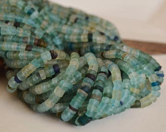 "15"" Strand- Ancient Roman Glass Beads- Afghanistan Beads- Tube Beads (1048-RB)"