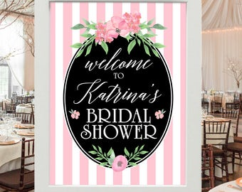 "Bridal Shower Decoration - Welcome to Bridal Shower Personalized Poster | Pink, White, Green Floral with Name of Bride to be 18x24"" UNFRAMED"
