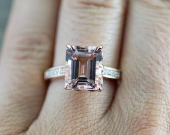 14k Rose Gold EMERALD Cut Pink Peach Morganite Diamond Engagement Promise Ring Rope Bead Vintage