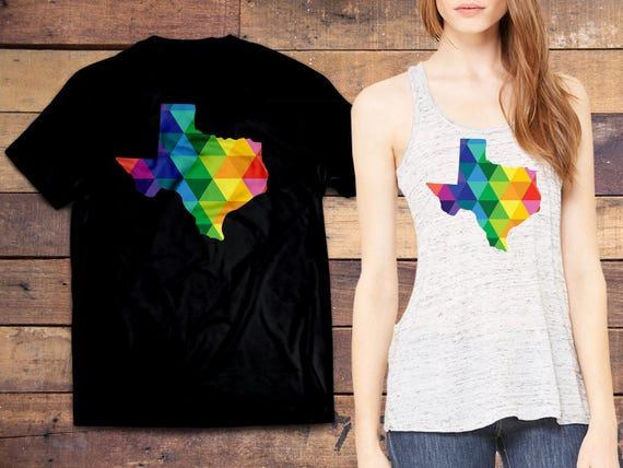A colorful Texas t-shirt to show support for your home town in the Lone Star State - TX proud (Tee colors: Heather Red, Blue, Black, White)