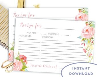 Printable Double Sided Floral Recipe Card INSTANT DOWNLOAD Bridal Shower Recipe Card 4x6 The Rosa