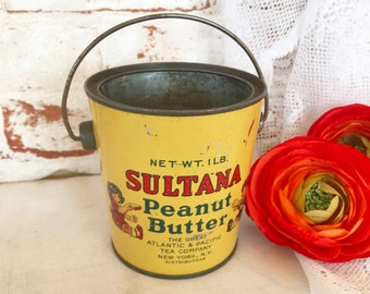 Antique Tin Litho Peanut Butter Bucket, Vintage Pail, Sultana Advertising, children Decorative Décor, nursery kitchen décor, storage
