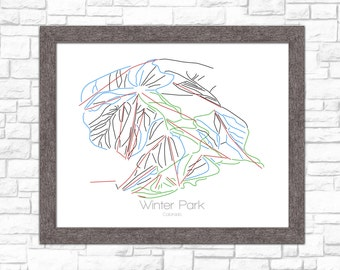 Winter Park Map Colorado CO Ski Snowboard Trail Art --- Print, Poster, Picture --- Frame, Gift, Present --- Resort, Mountain, Snow, Winter