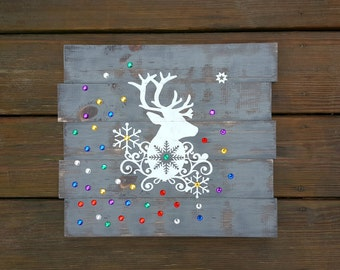 Rustic Wooden Holiday Deer Sign w/Snowflakes and Jewels, Christmas Sign, Winter Deer Decor, Holiday Decor, Woodland Decor, Winter Wonderland