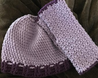 Ponytail/messybun hat and Fingerless Gloves Set