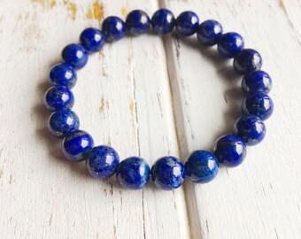 Genuine Lapis Lazuli Bracelet, 4mm Lapis Lazuli Bracelet, 6mm Lapis Lazuli Bracelet, 8mm Lapis Lazuli Bracelet, 10mm Lapis Lazuli Bracelet