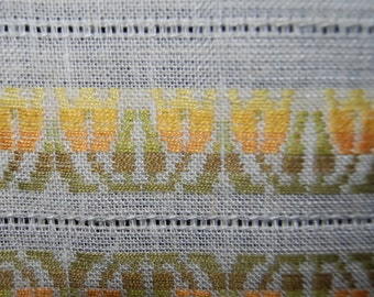 70's large Finlayson woven table cloth, Made in Finland