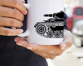 KillerBeeMoto:  U.S. Made World War 2 German Panzer III Tank Mug (White)