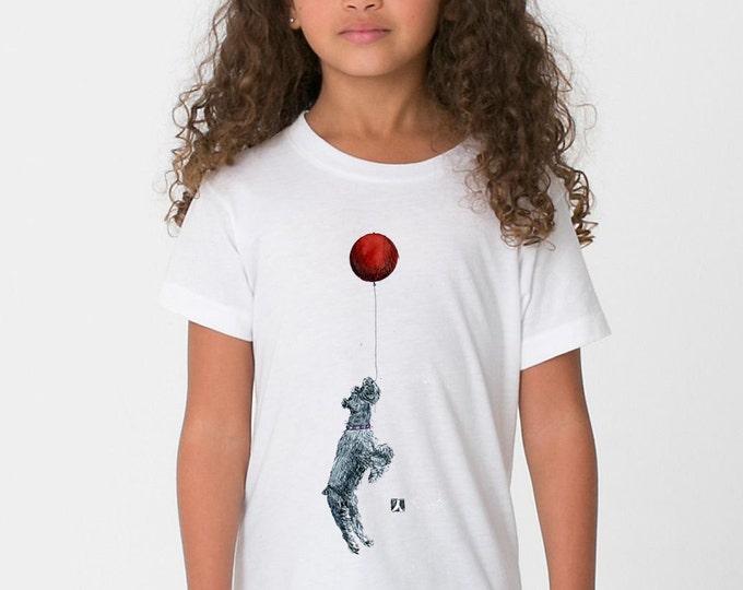 KillerBeeMoto: Standard Schnauzer And Red Balloon T-Shirt/Tank Top (WHITE)