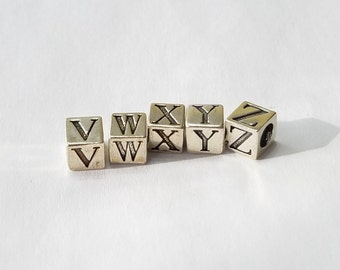 Sterling Silver, Alphabet, Letter, LETTER W, Bead, Alpha, Clearance, Sale, Jewelry, Beading, Supply, Supplies