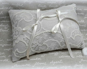 Ivory white lace ring bearer pillow