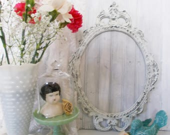 MBS Ornate Picture Frame, Oval Frame, Baroque Frame, Wedding Prop, Nursery Decor, Metal Frame, White frame