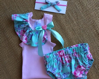 Pretty baby girl summer set. Handmade nappy  cover and  singlet set, size 0-3 months.