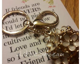 Flower keychain with friends are like flowers note birthday gift