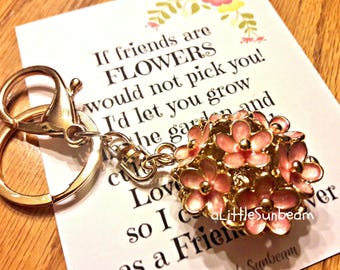 Pink flower keychain gift with friend note keyring