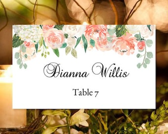 "Printable Place Card ""Jasmine's Garden"" Peach, Pink, Whites, Mint & Sage Make Your Table Name Cards Editable Word.doc Template DIY You Print"
