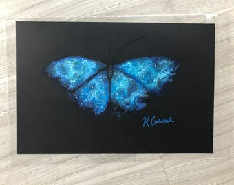 Galactic Butterfly: Original Oil Pastel (12 in by 18 in)