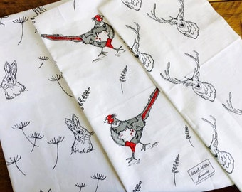 Set of 3 Tea Towels *Hare *Stag *Pheasant