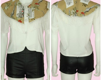 White Blouse Vintage 80s Shirt with Tassels & Tan Overlay Small/Medium