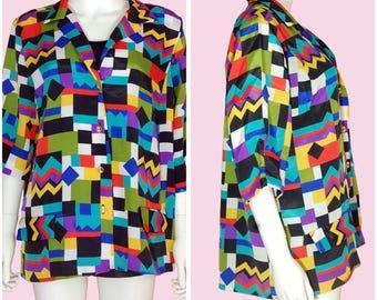 Vintage 80s Colorful Blouse Rainbow Color Short Sleeve Top Size XL