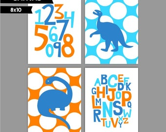 Orange Blue Dinosaur Baby Boy nursery art prints Nursery canvas art, Alphabet numbers Set of 4 8x10 ( S81014 )