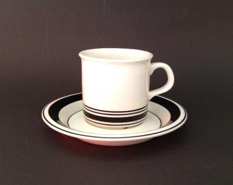Arabia Finland Peter Winquist  Black and White Cup and Saucer